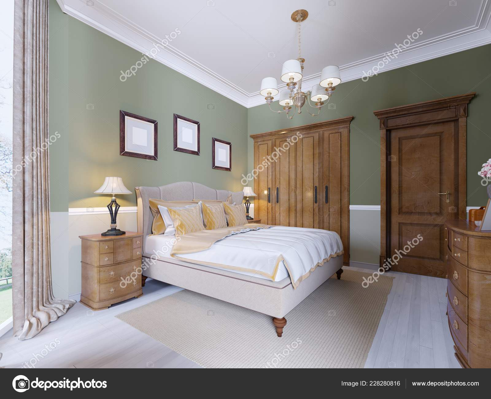 Moderne Klassische Traditionelle Schlafzimmer Innenarchitektur Mit ...