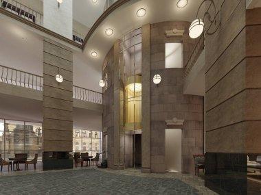 Modern hotel lobby interior. 3d rendering