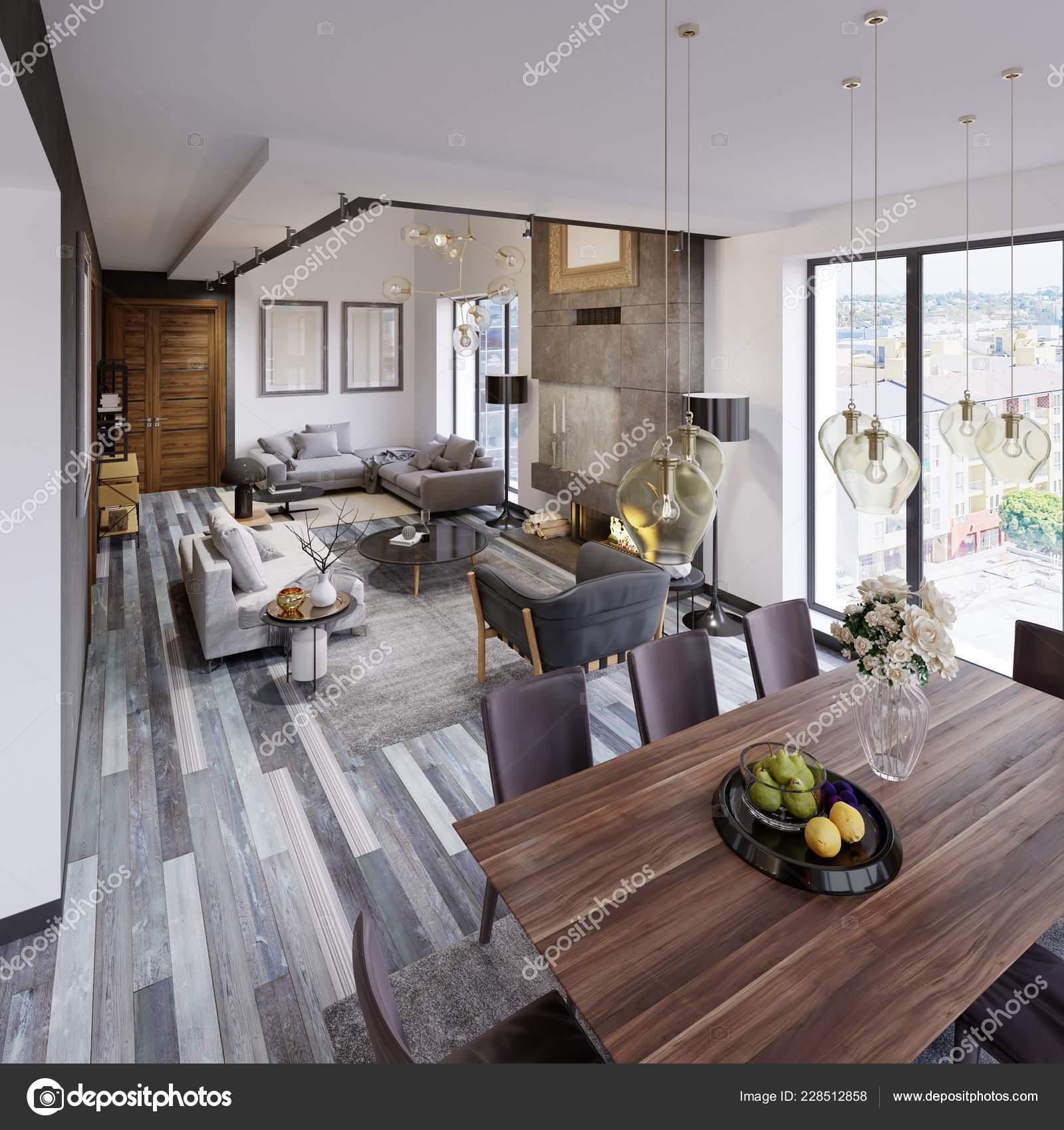 Diseño Apartamento Con Una Mesa Comedor Sala Estar Tipo Loft ...