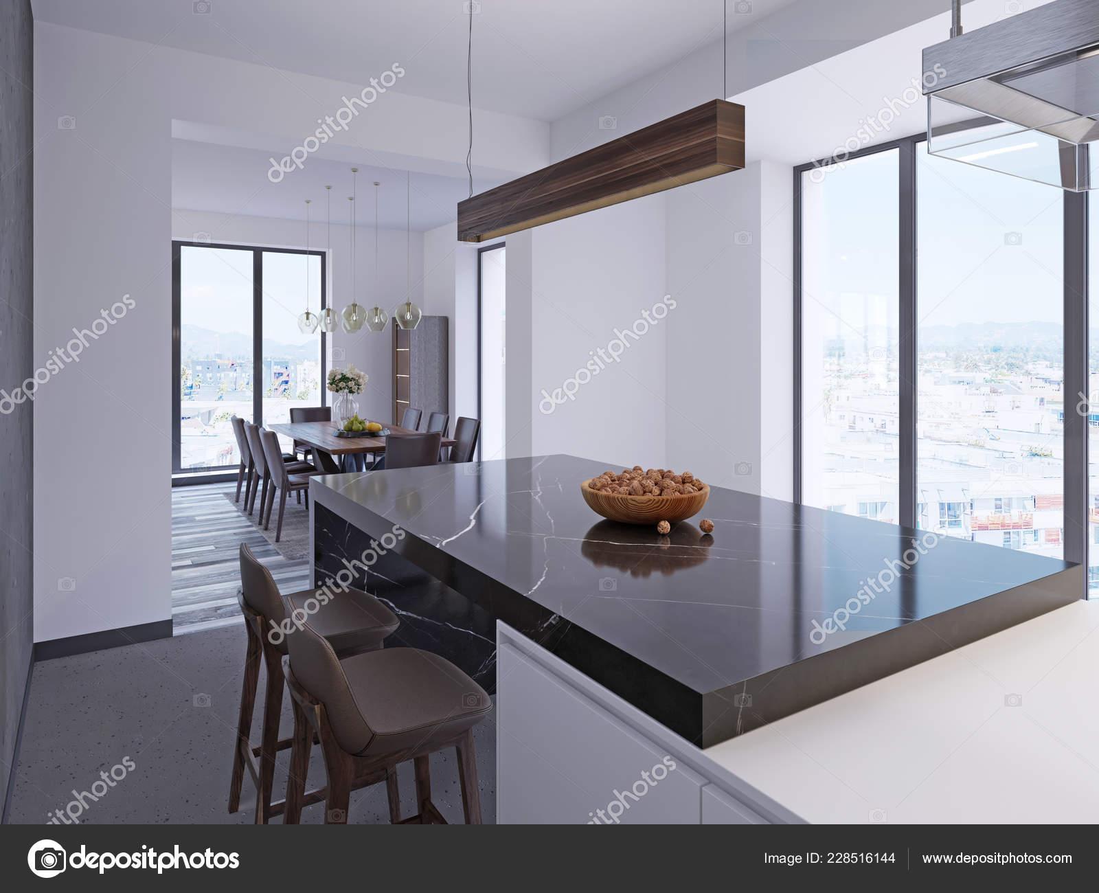 Modern Bar Counter Contemporary Kitchen Dining Area Large Panoramic Windows Stock Photo C Kuprin33 228516144
