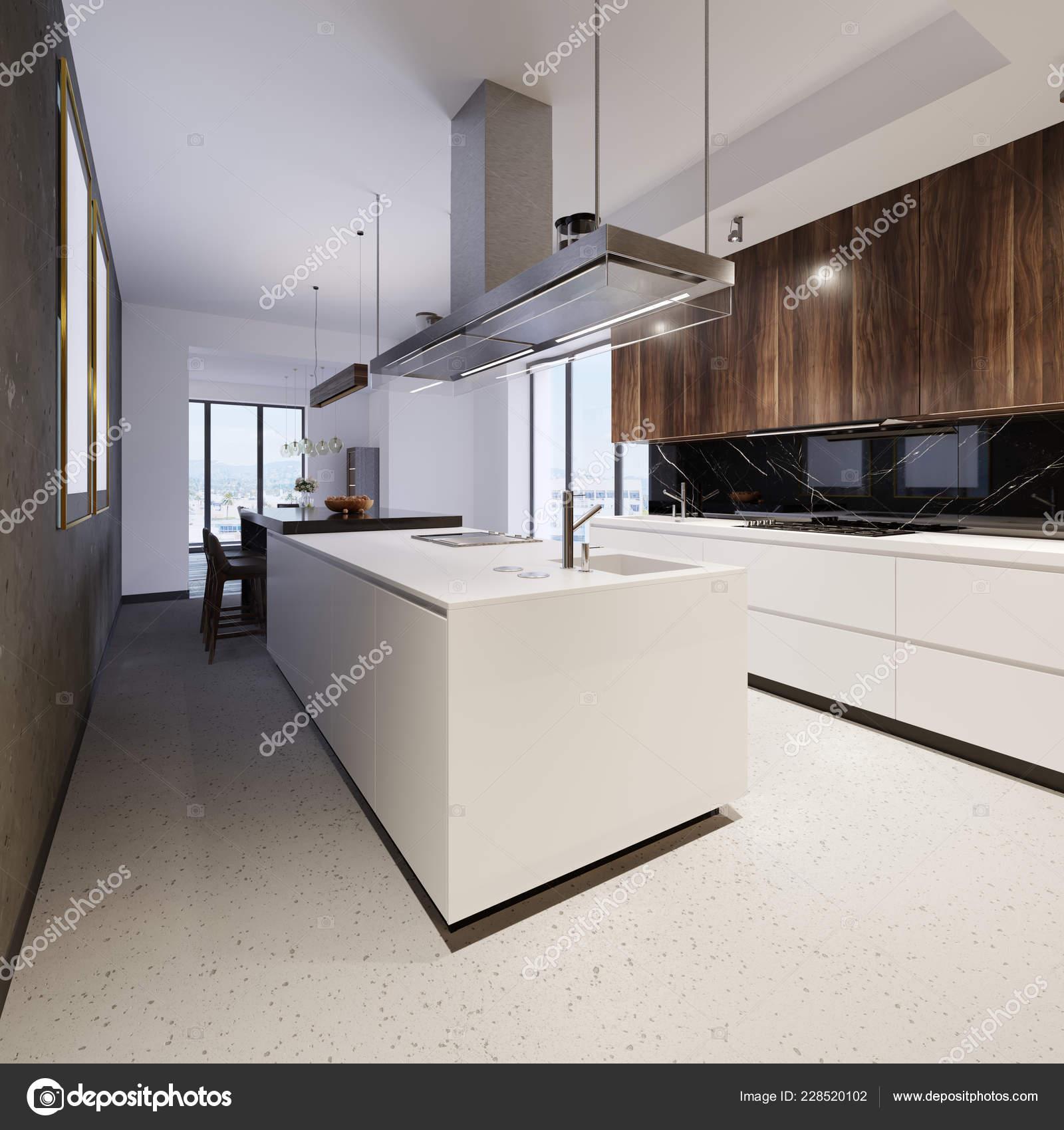 Luxurious Kitchen Furniture White Bottom Wooden Top ...