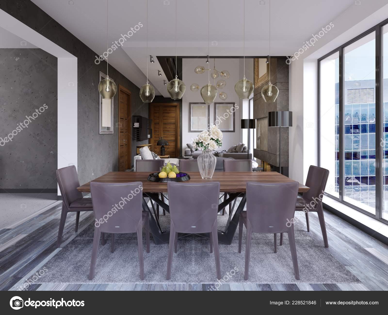 Elegante Sala Pranzo Moderna Interni Sala Pranzo Nella Casa Lusso ...