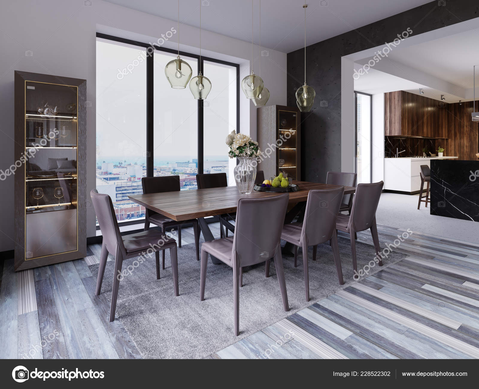 Incredible Panoramic Windows Luxury Dining Room Wooden Table Leather Gmtry Best Dining Table And Chair Ideas Images Gmtryco