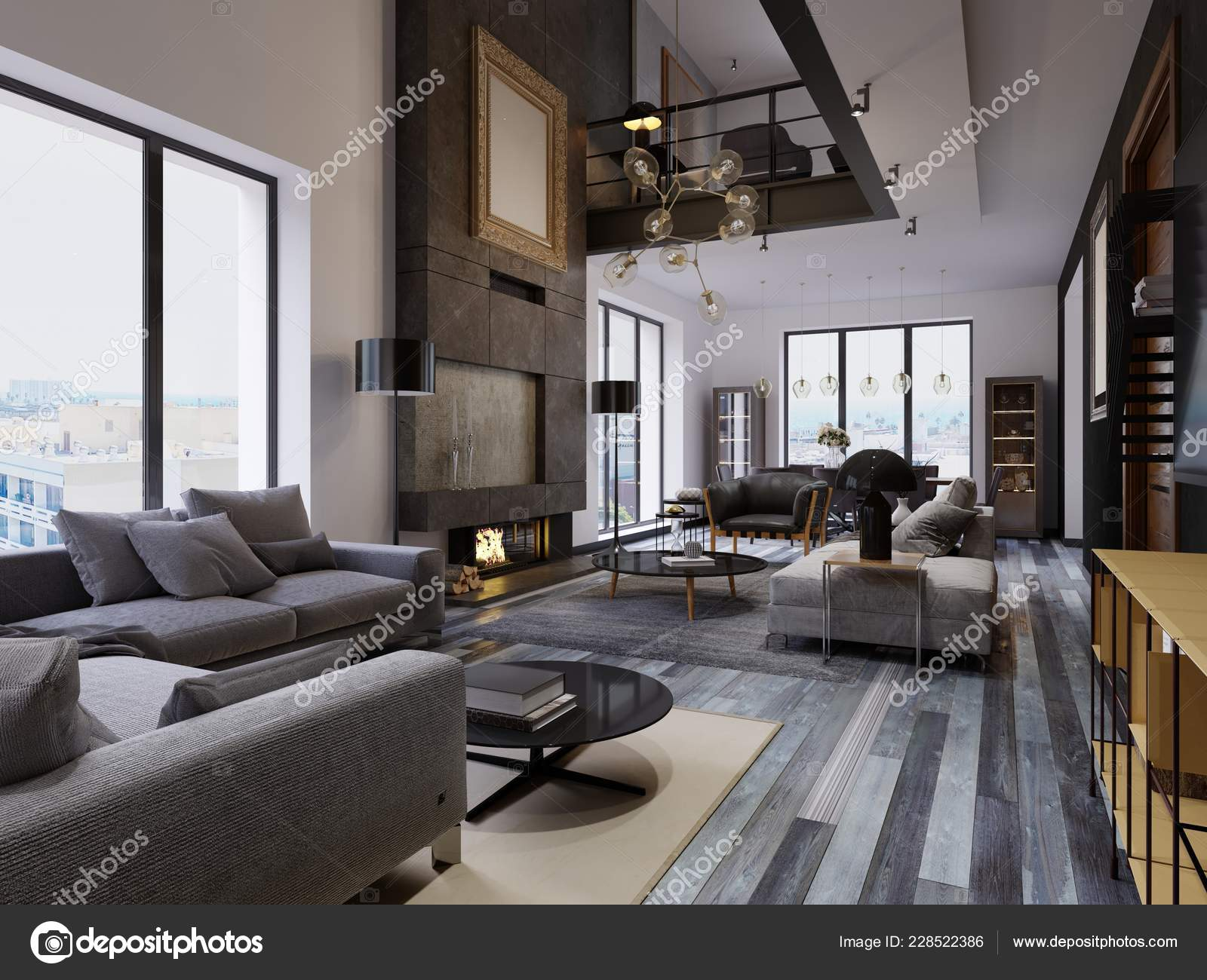 Luxury Duplex Loft Style Apartment Contemporary Furniture ...