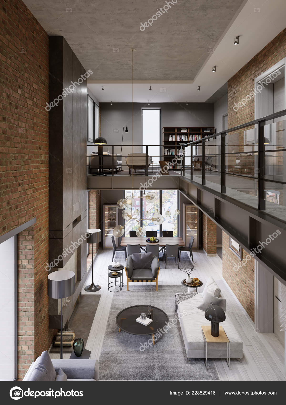 Interni Moderni Loft Progettato Come Moderno Appartamento ...