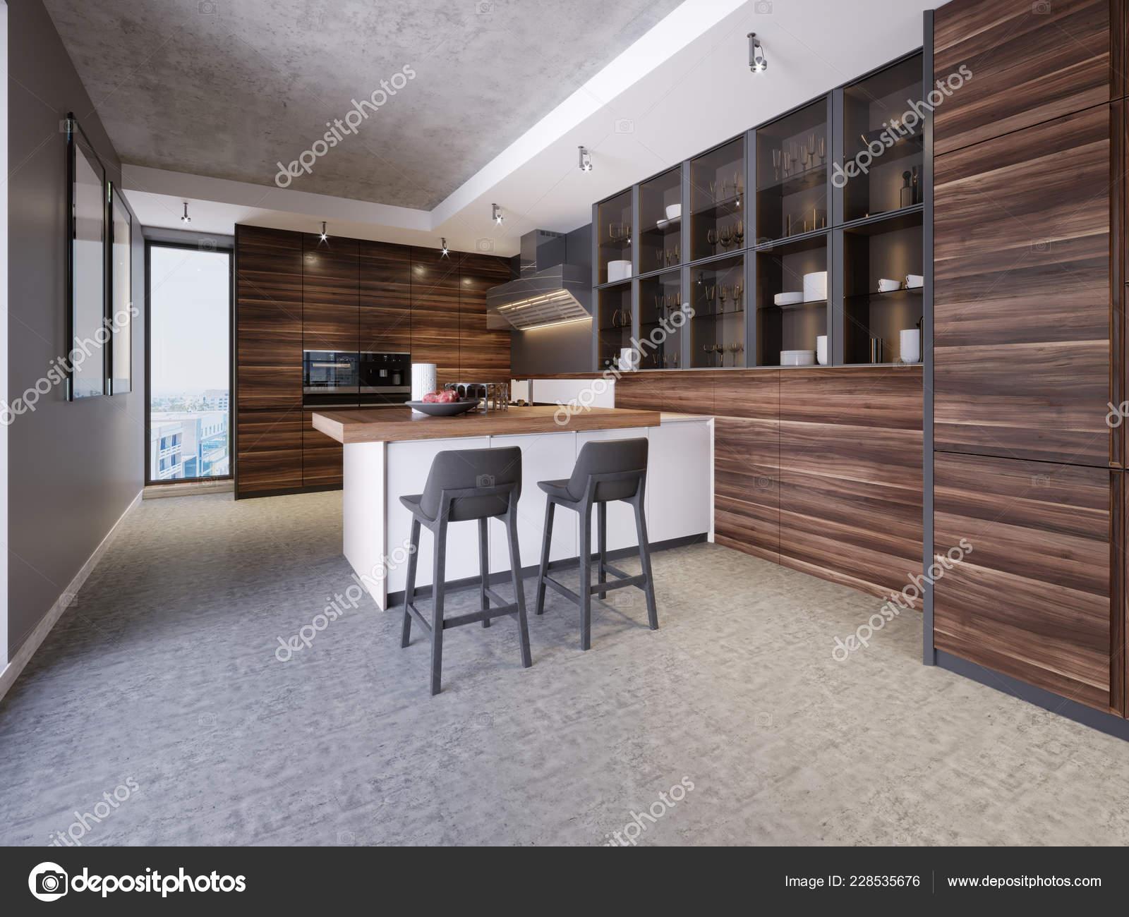 Interior Cocina Diseño Moderno Estilo Contemporáneo Con ...