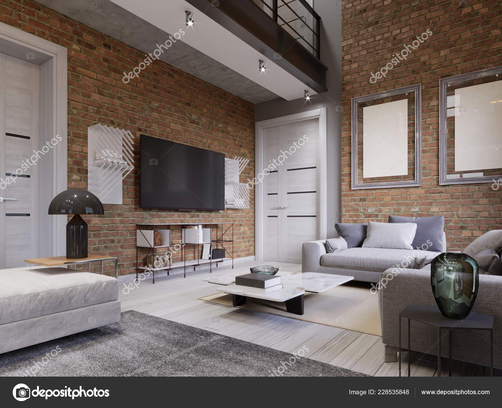 Led Stand Background Brick Wall Loft Apartment Living Room Rendering Stock Photo C Kuprin33 228535848