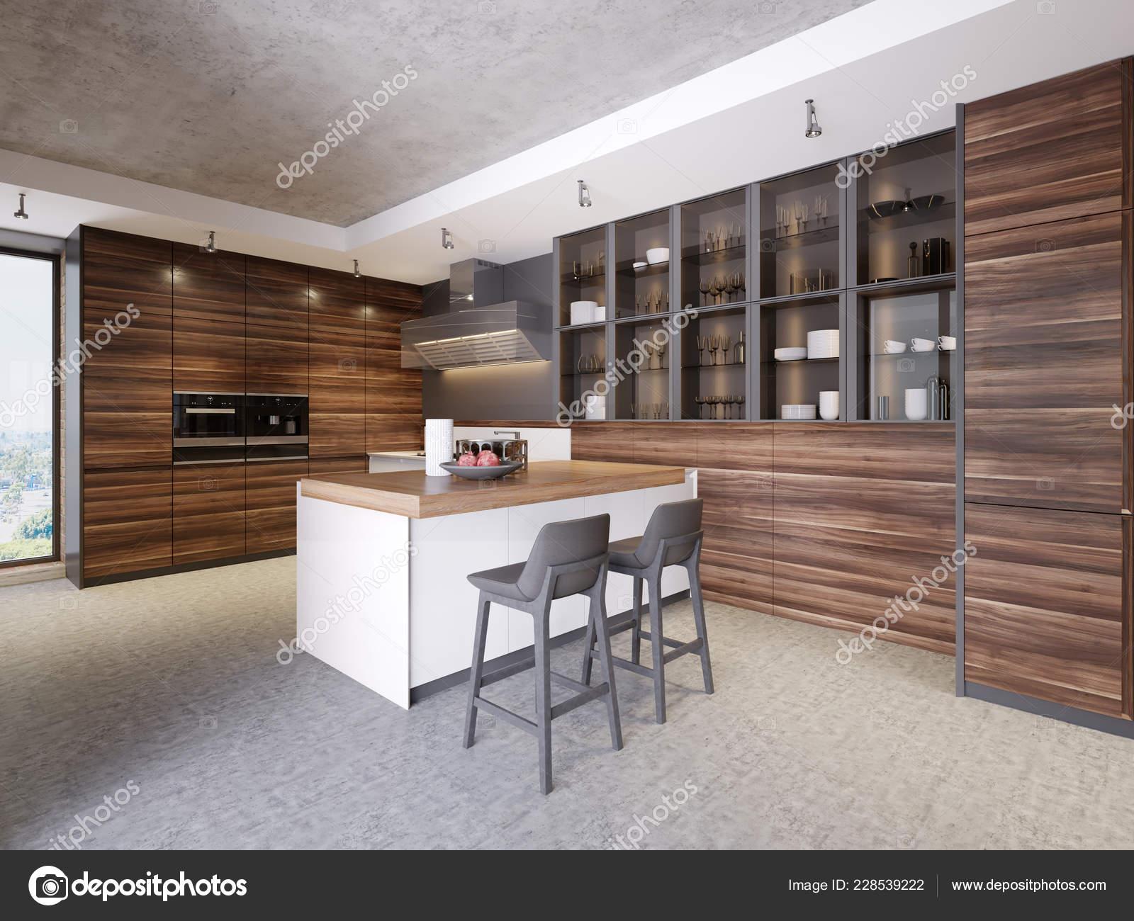 Interior Cocina Diseño Moderno Estilo Contemporáneo Con Aparatos ...