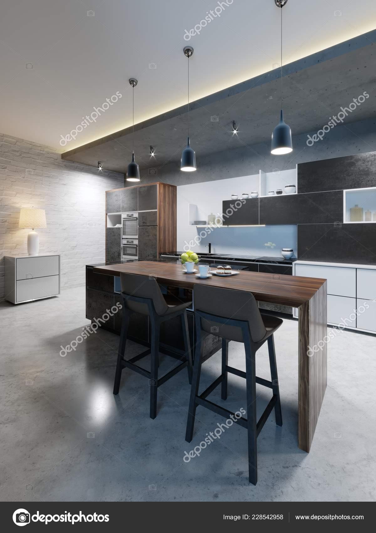 Picture of: Bar Counter Chairs Kitchen Island Modern Kitchen Evening Lighting Rendering Stock Photo C Kuprin33 228542958