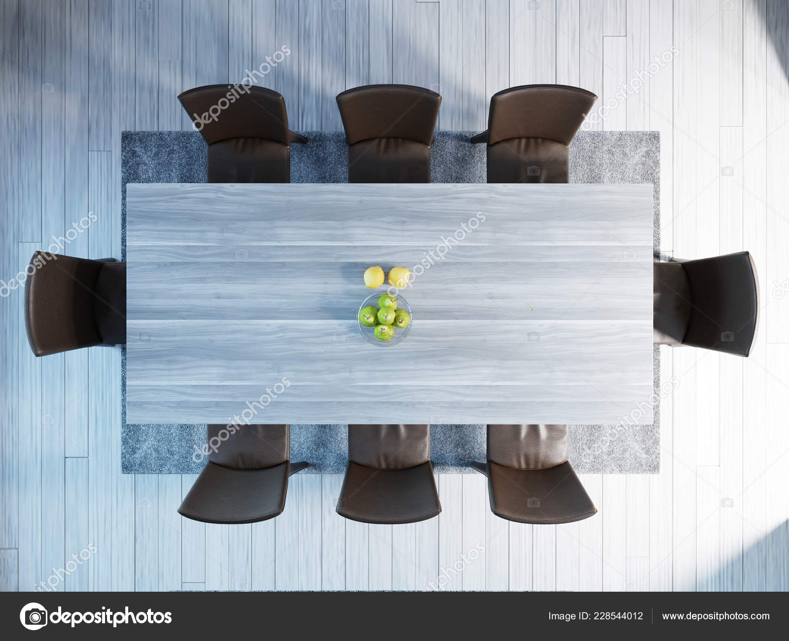 Top View Modern Dining Room Interior Table Chairs Rendering Stock Photo Image By C Kuprin33 228544012