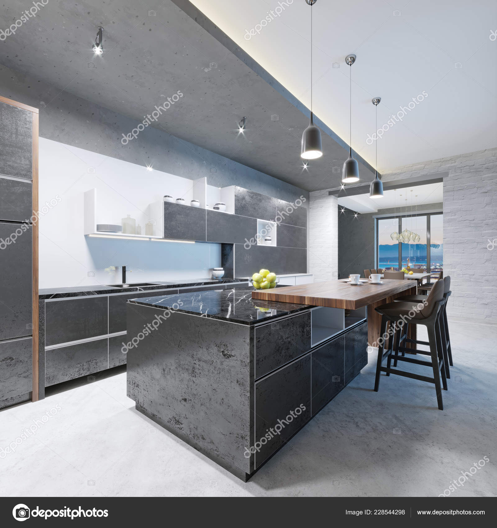 Modern Kitchen Long Kitchen Island Wooden Top Bar Chairs ...