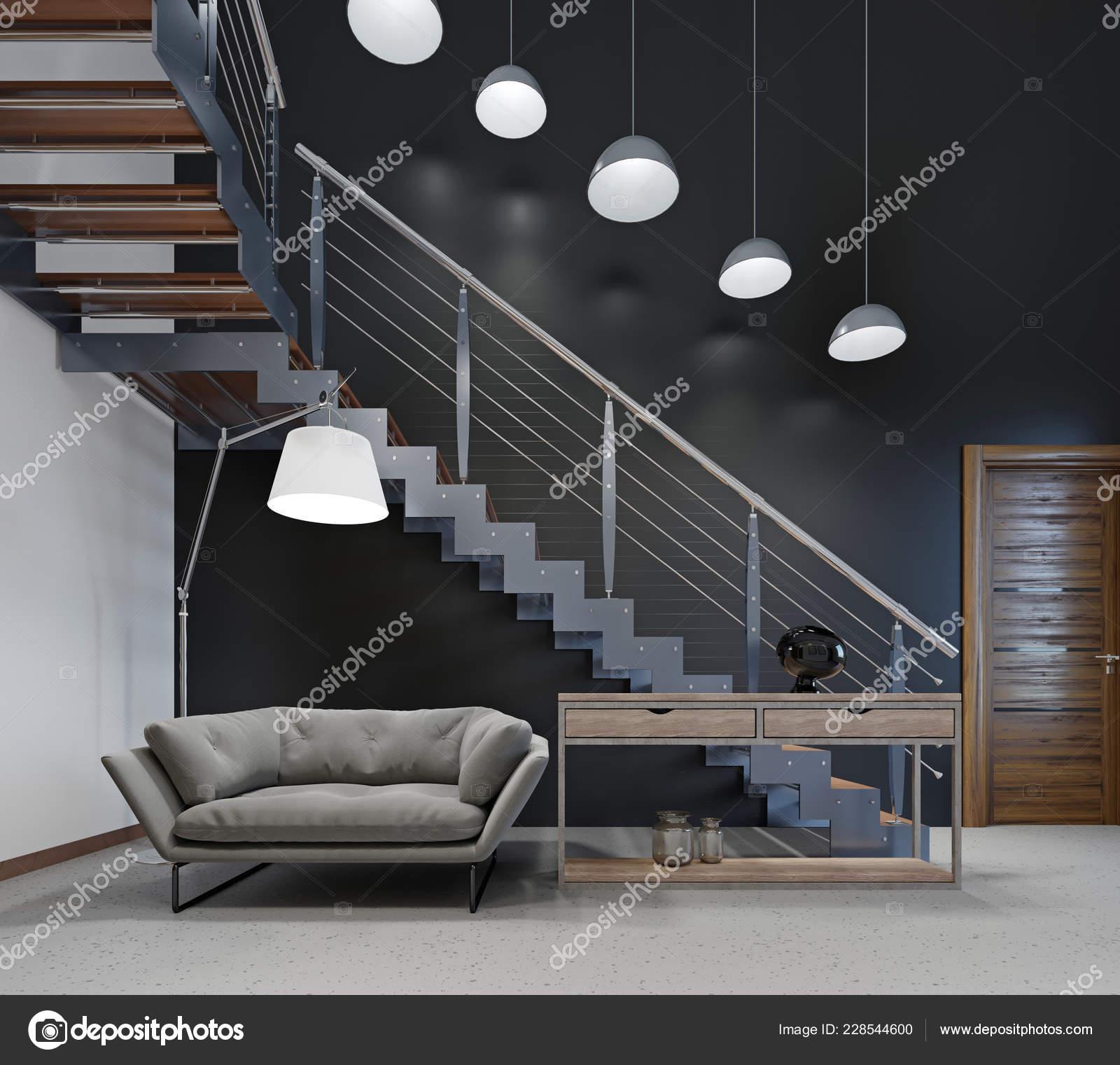 Comfortable Modern Sofa Lobby Stairs Second Floor Rendering Stock