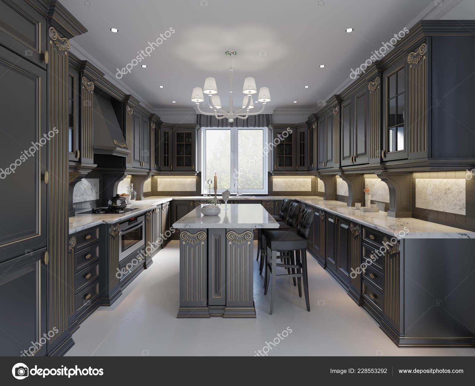 Modern Angielski Klasyczny Styl Kuchnia Wnętrz Ciemne Meble