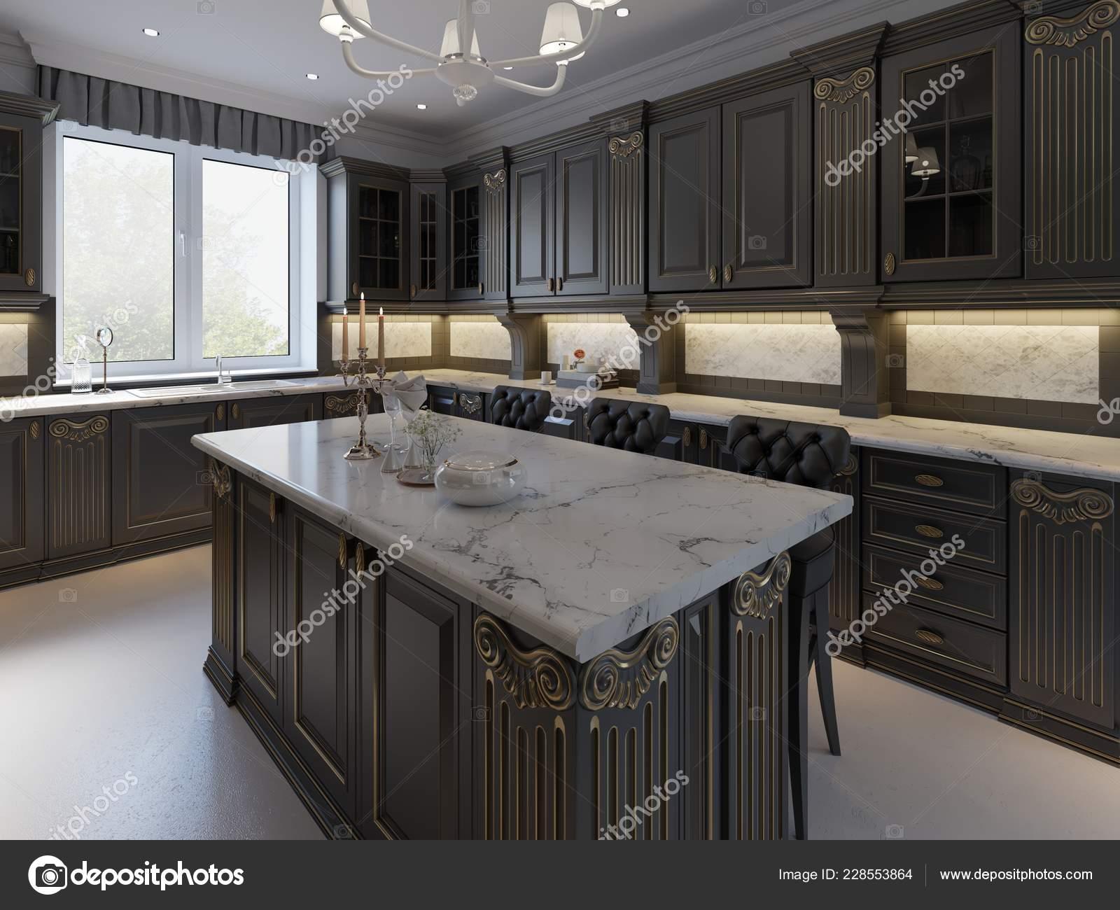Black Bar Stools Kitchen Island Bright Living Room Rendering Stock Photo C Kuprin33 228553864