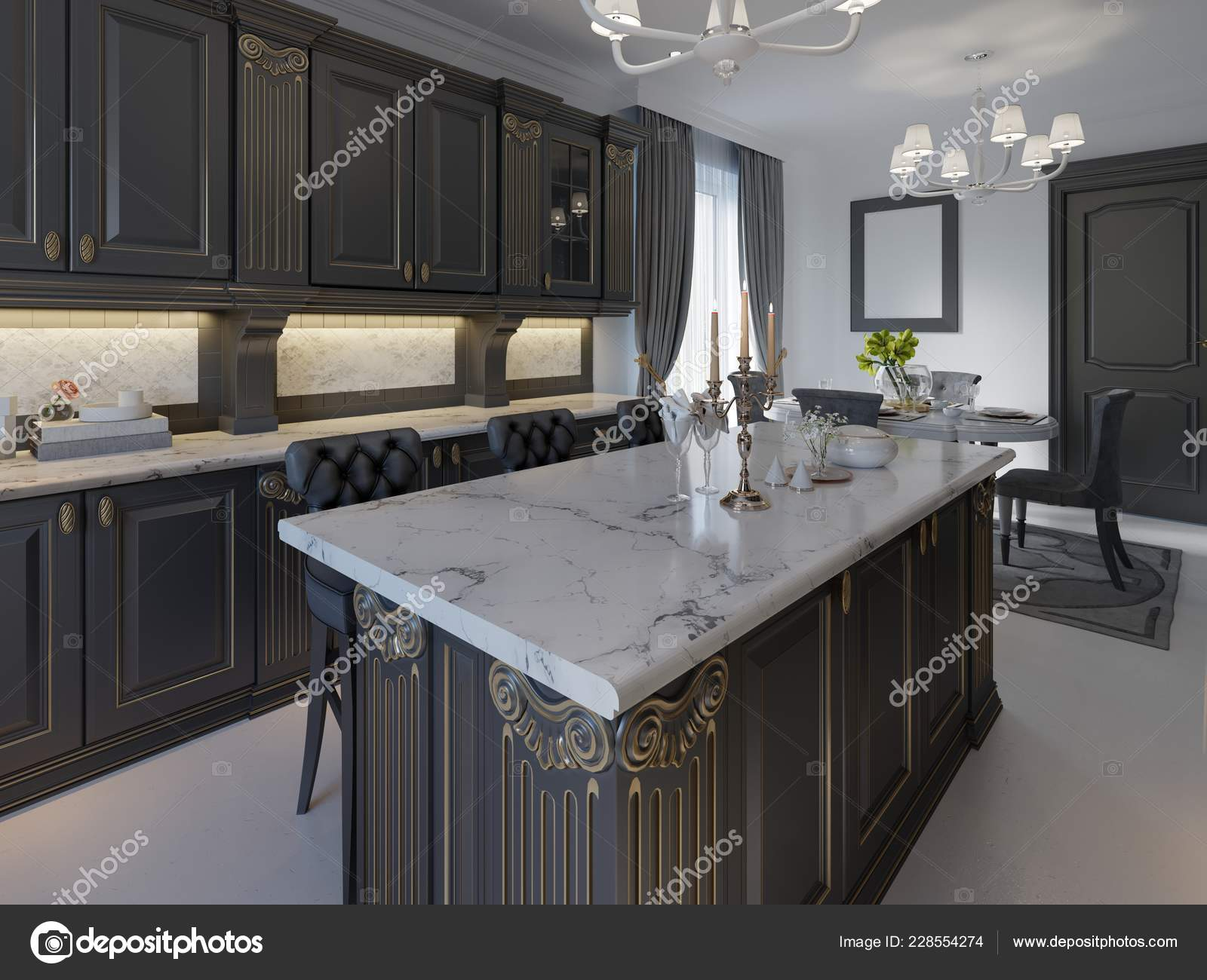 Picture of: Black Bar Stools Kitchen Island Bright Living Room Rendering Stock Photo C Kuprin33 228554274