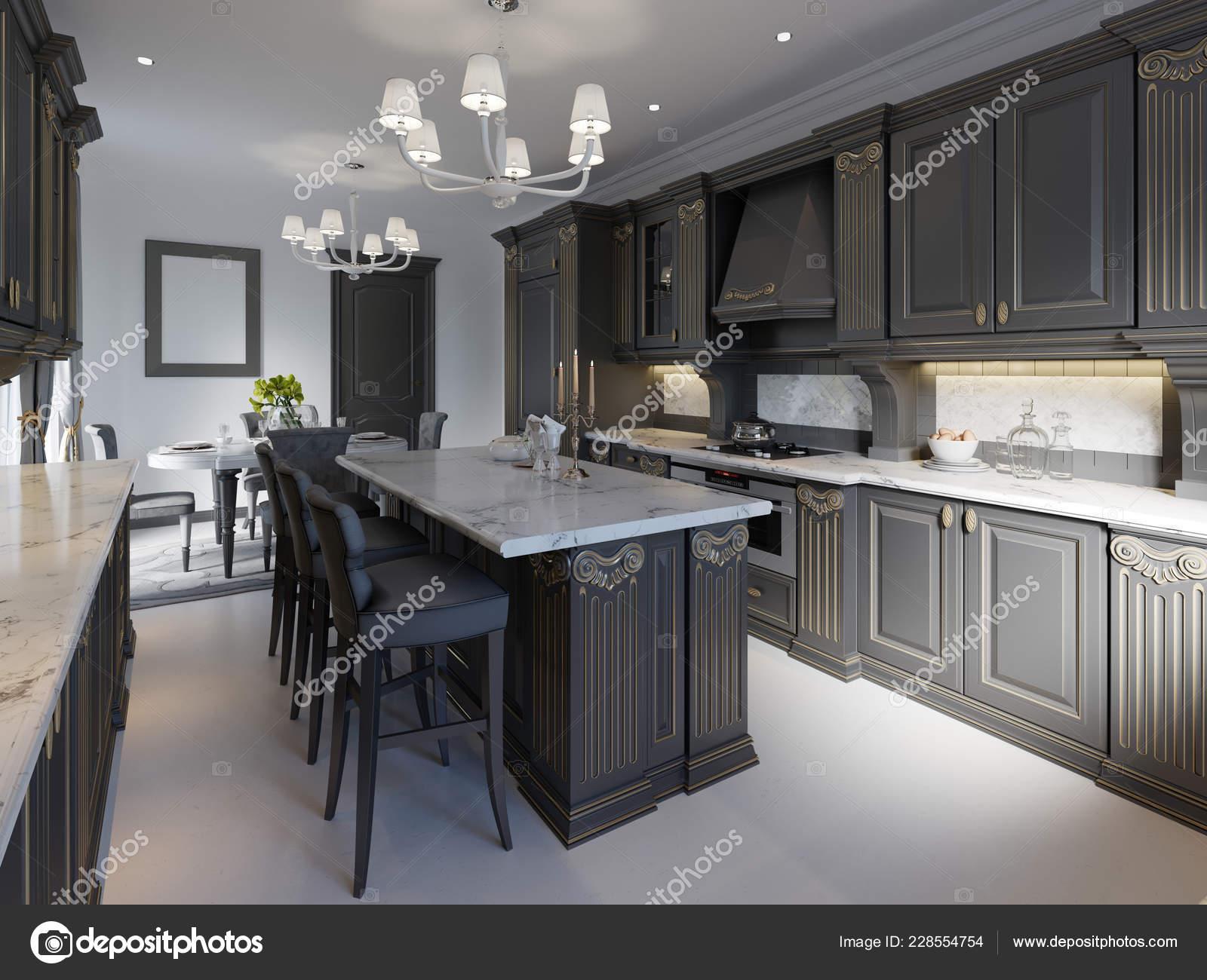Modern Classic Kitchen Design Black Cabinets White Marble Worktop Floor Stock Photo C Kuprin33 228554754