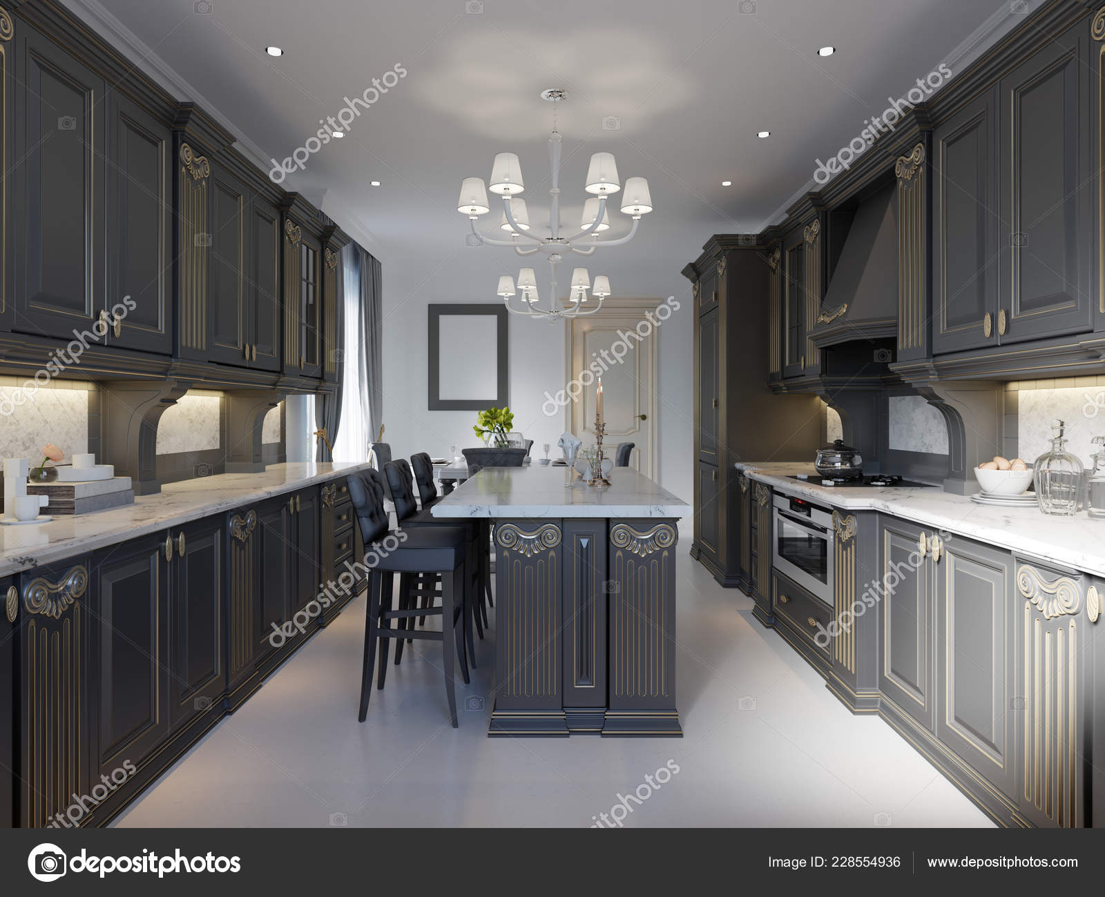 Black White Marble Kitchen Modern Classic Kitchen Design