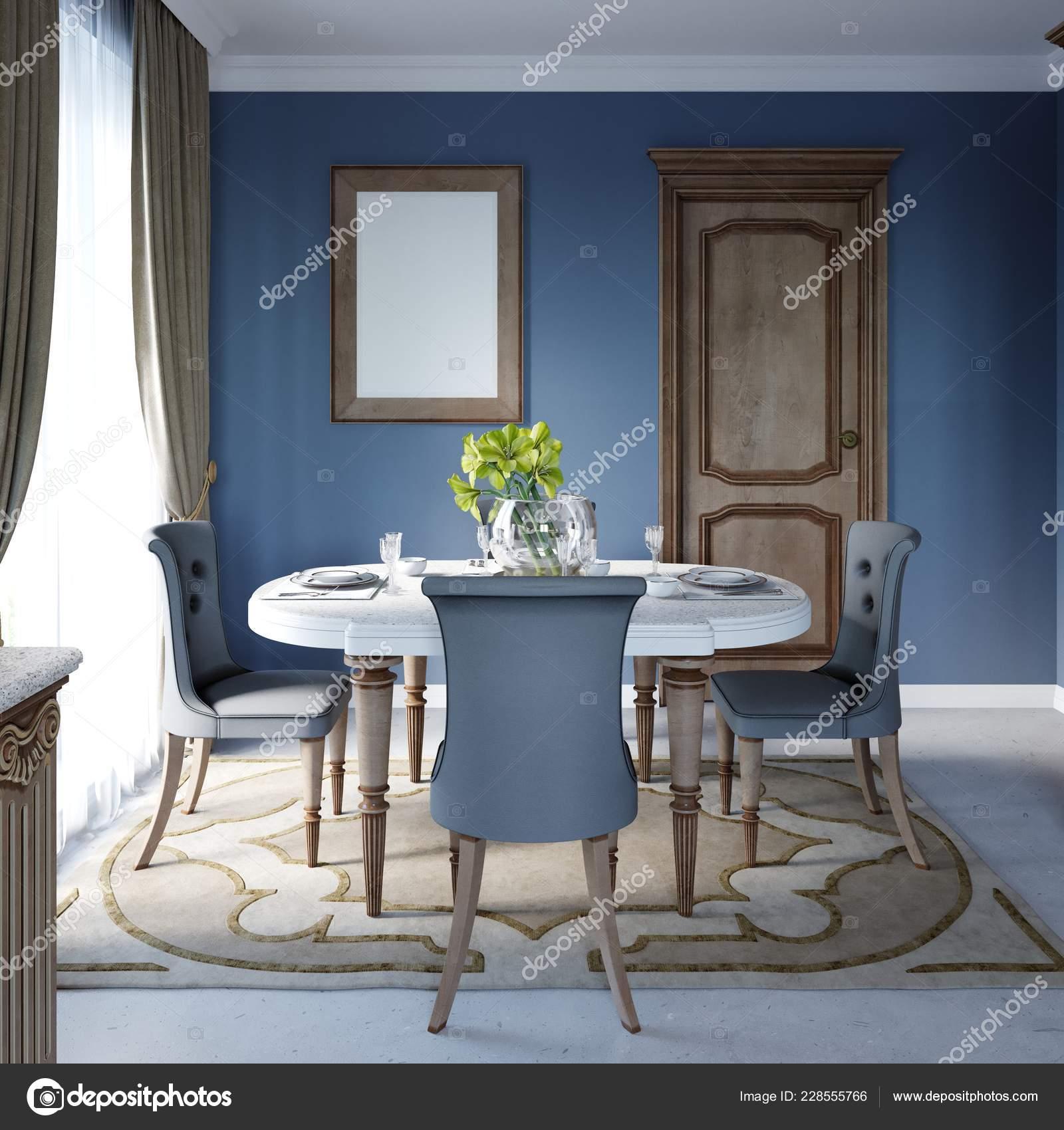 Interiore Classico Lusso Della Sala Pranzo Cucina Con Mobili Marroni ...