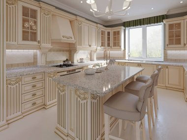 Kitchen island in a luxurious classic style kitchen. 3d rendering