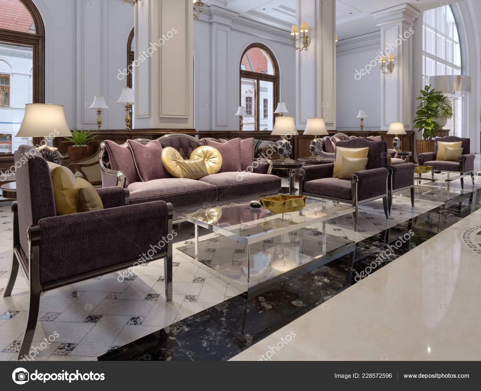 Hotel Lobby Klassischen Stil Mit Luxuriosen Art Deco Mobel