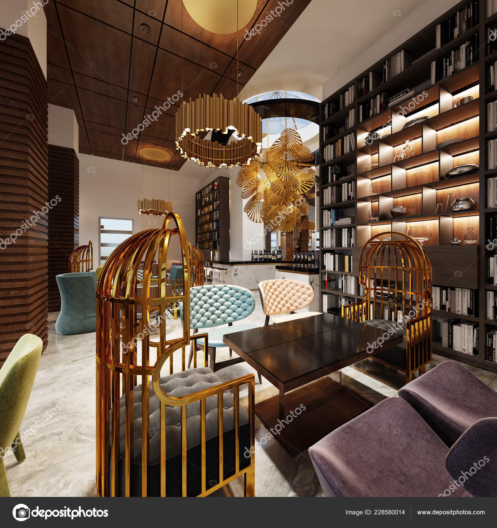 Fashionable Modern Style Library Bar Art Deco Style Elegant Furniture Stock Photo C Kuprin33 228580014