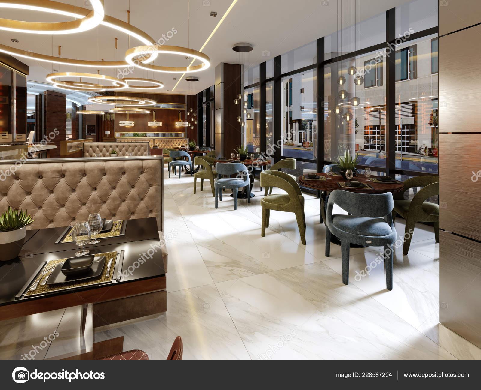 Modern Conceptual Interior Design Restaurant Contemporary Style Classic Elements Rendering Stock Photo C Kuprin33 228587204