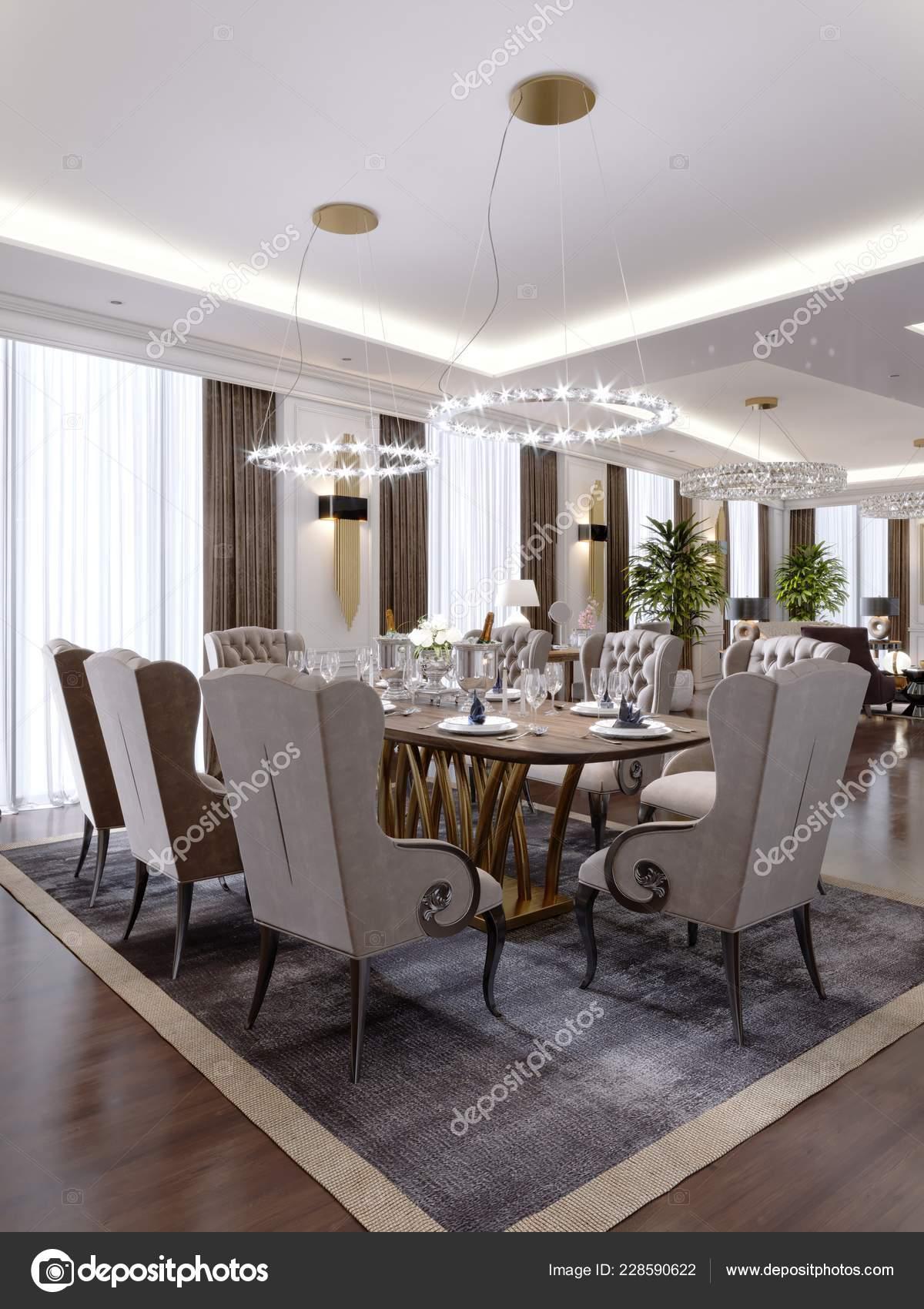 Luxueuse Salle Manger Avec Une Grande Table Des Chaises Douces U2014 Photo
