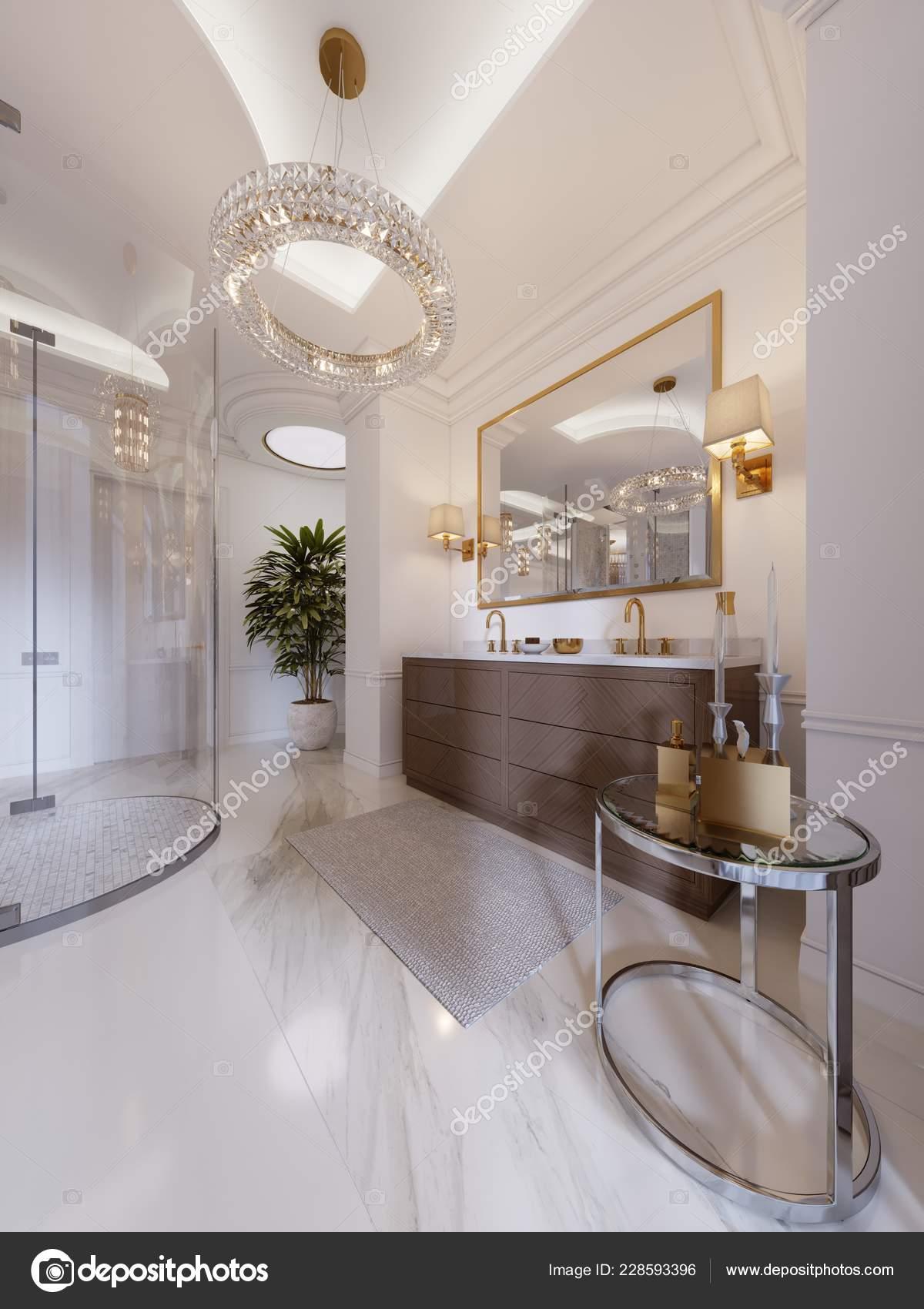 Moderno Cuarto Baño Con Tocador Espejo Marco Oro Con Apliques ...