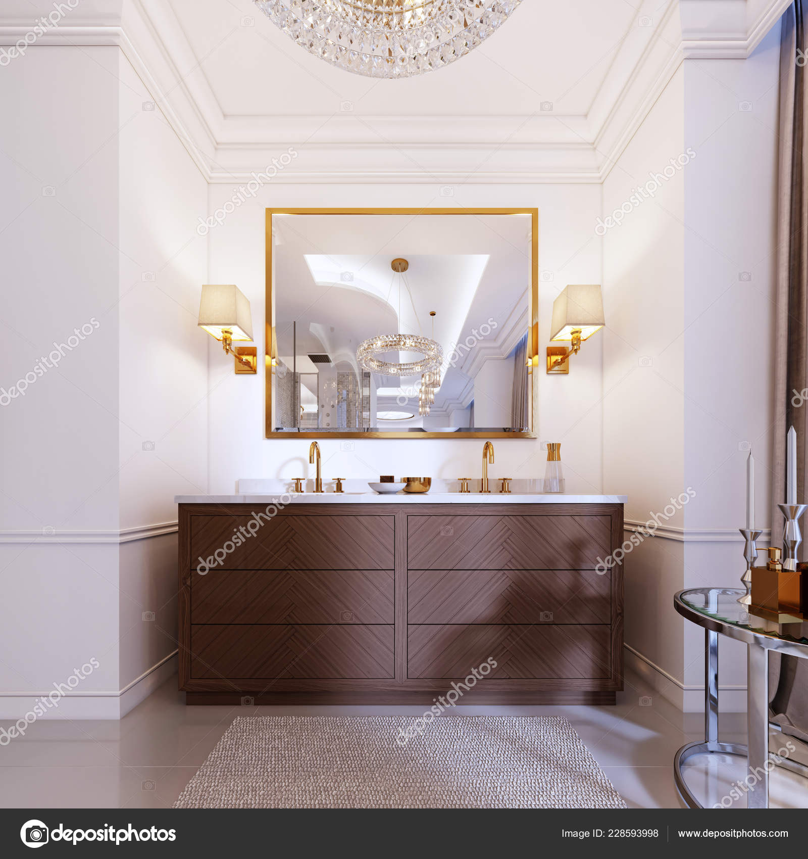 Modern Wooden Vanity Mirror Gold Frame Sconces Wall Low Table Stock Photo C Kuprin33 228593998