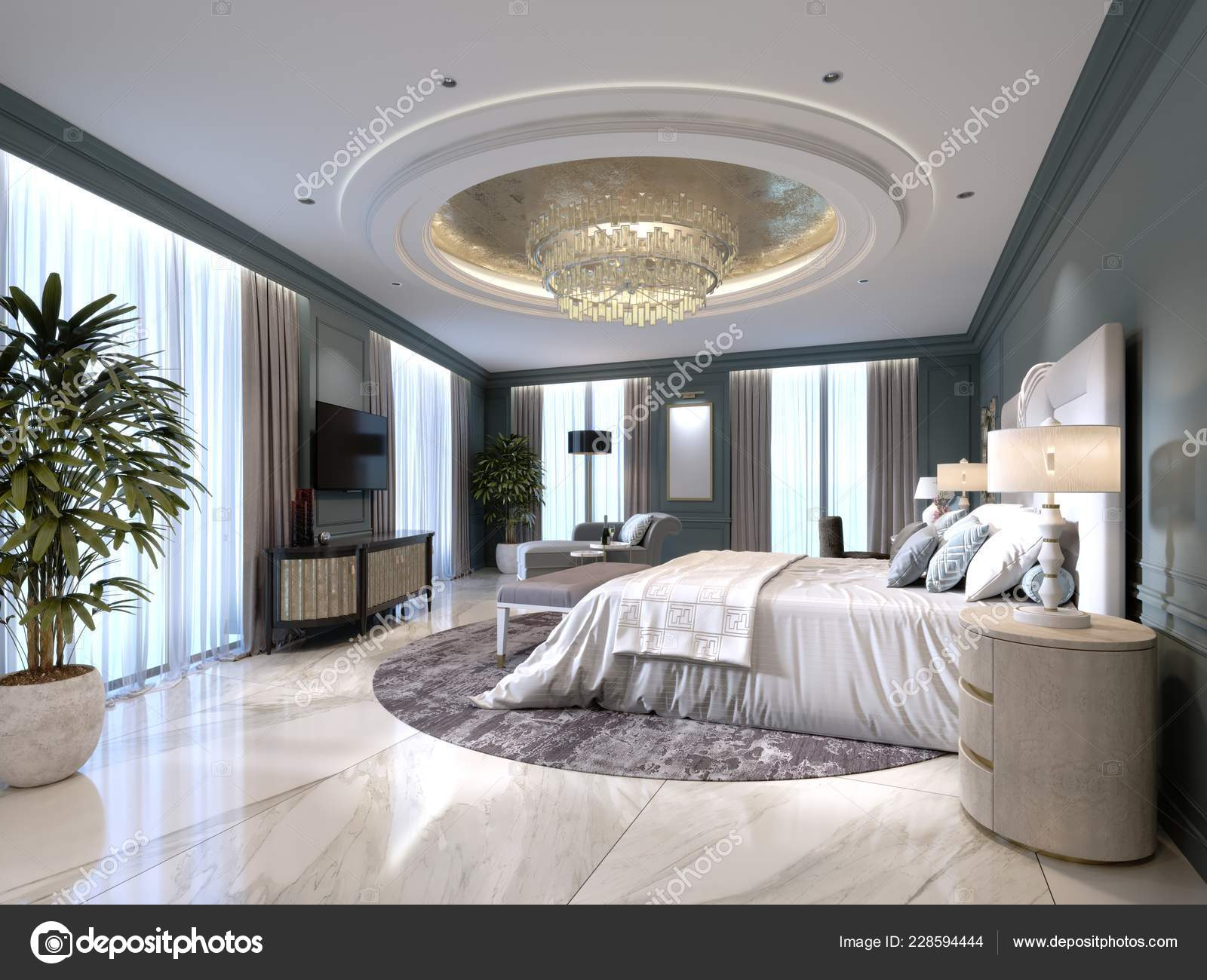 Interiore Elegante Camera Letto Con Letto Grande Comodo Divano Con ...