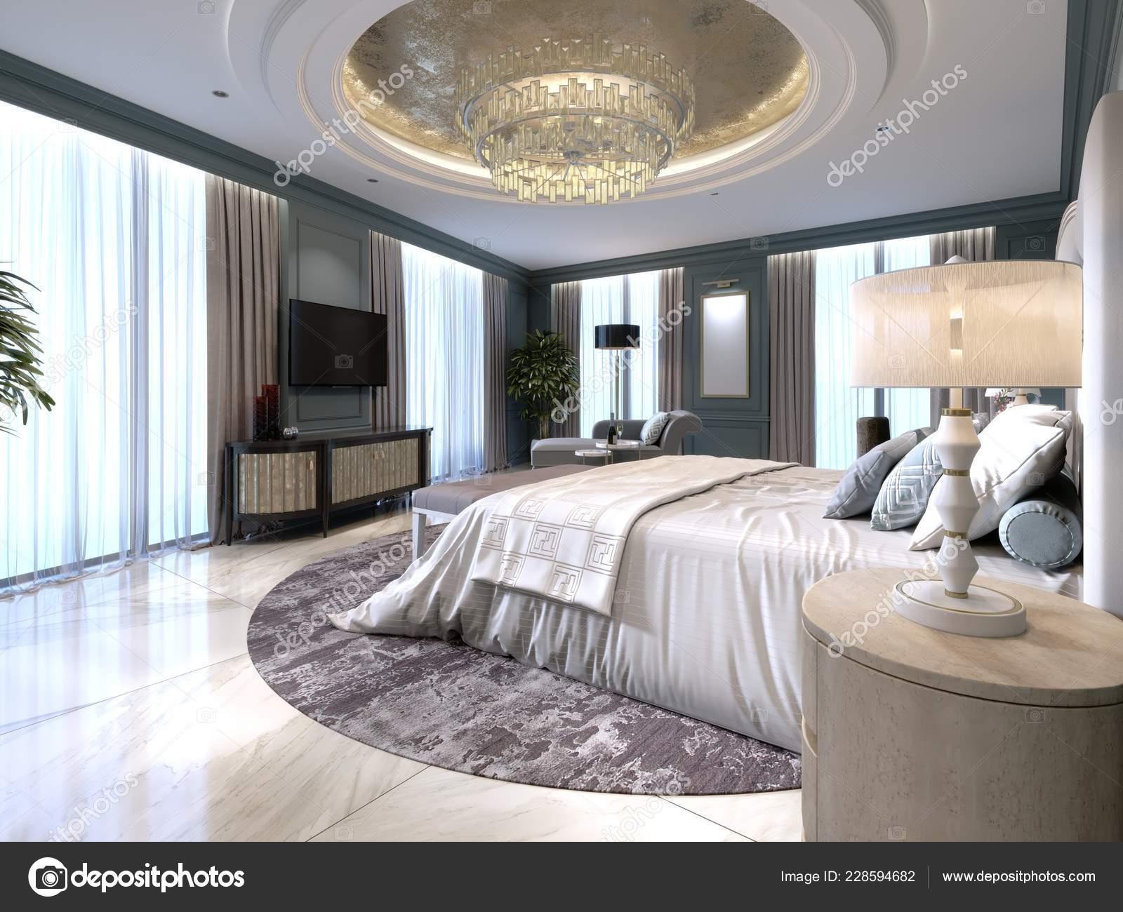 Modern Design Bedroom Large White Bed Stool Dressing Table Nearby Stock Photo C Kuprin33 228594682