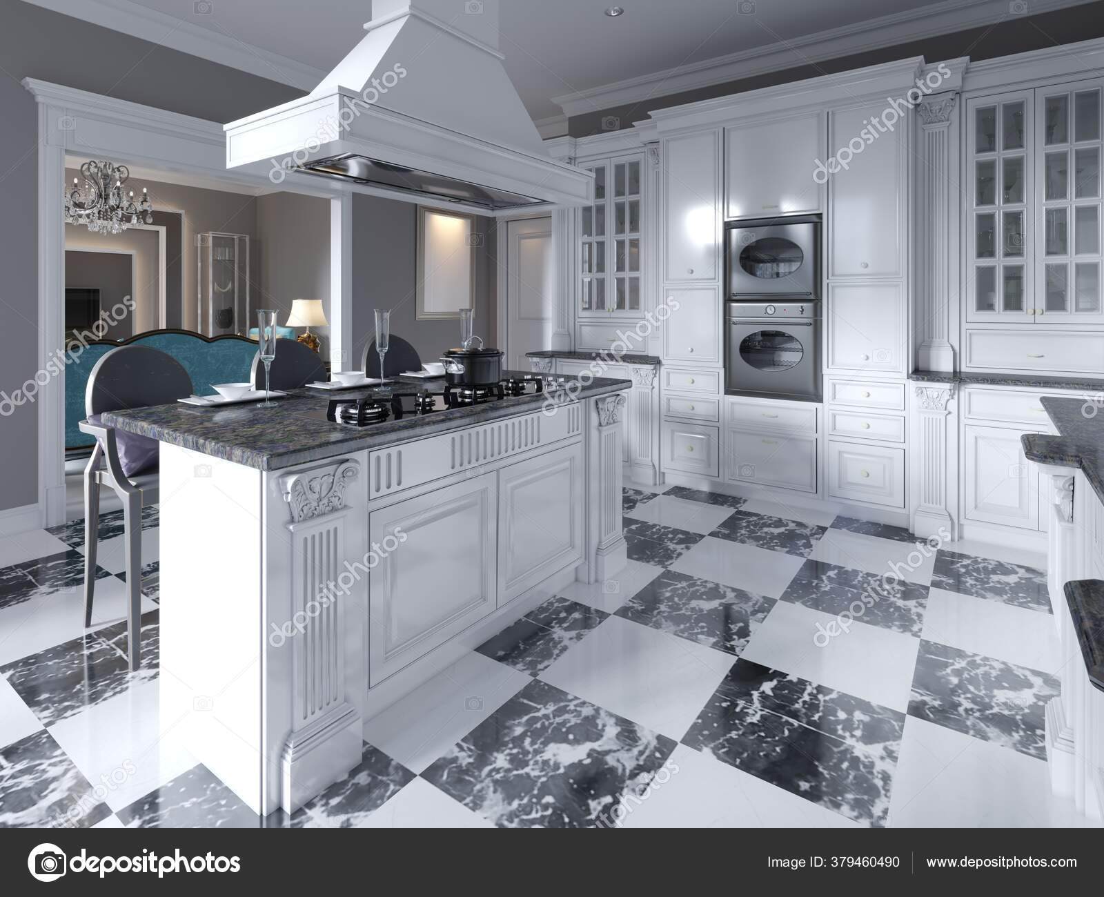 Modern Art Deco Style Kitchen Trendy Black White Furniture Chess Stock Photo C Kuprin33 379460490