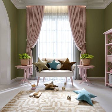 Playroom for a child with a white sofa and a pink rack with toys. 3D rendering.