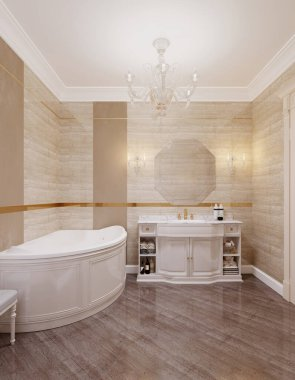 Classic style bathroom with toilet and bidet in beige and yellow. 3D rendering.