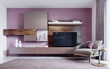 Contemporary furniture for the living room with TV from wooden and brown furniture facades with a trendy armchair next to it with a small table. Background of purple wall. 3D rendering.
