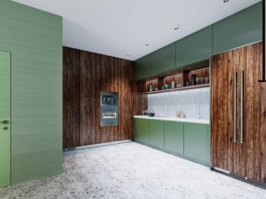 Design of a modern green kitchen in green and brown colors. 3D rendering.