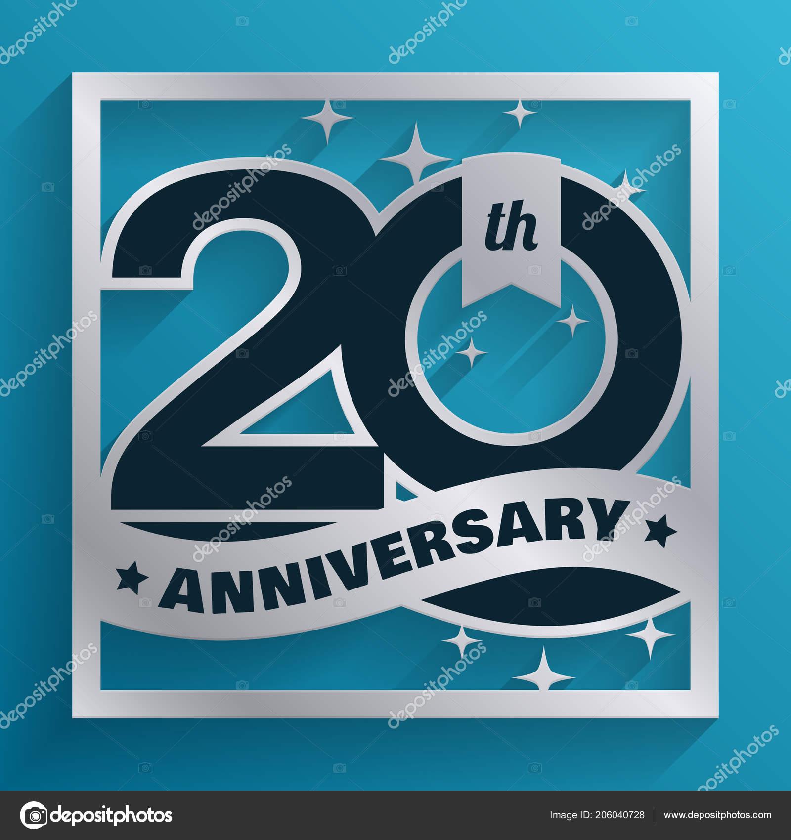 20 Años De Plata Aniversario Diseño Aislado Sobre Fondo Azul