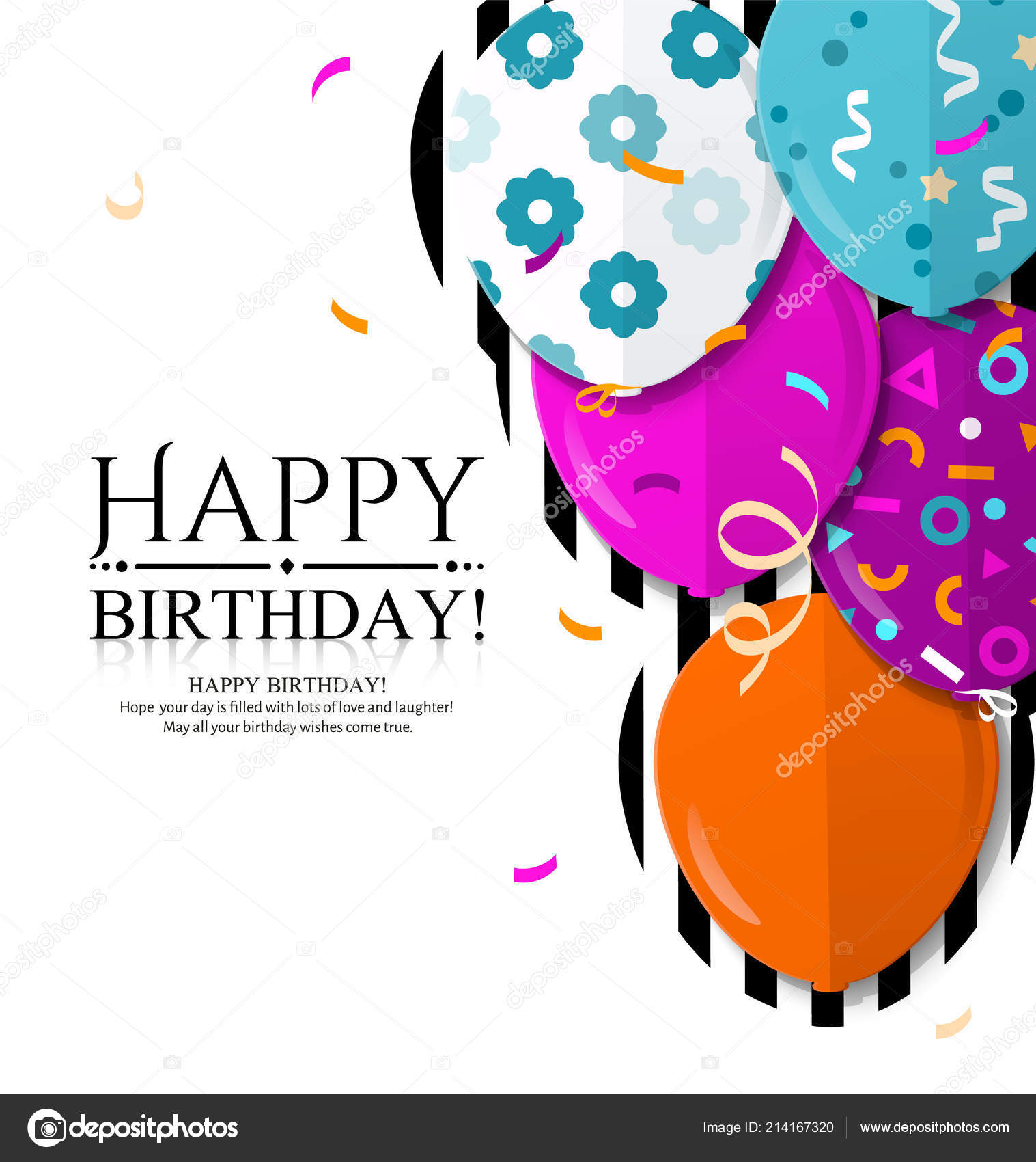 Happy Birthday Invitation Card With Colorful Balloons In