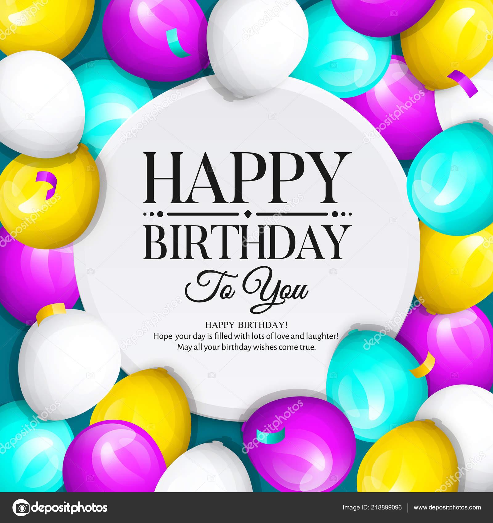 Happy Birthday Grusskarte Jede Menge Bunte Luftballons Und Konfetti Stilvolle Schriftzug Auf Hintergrund Vektor Von Nikolamirejovska
