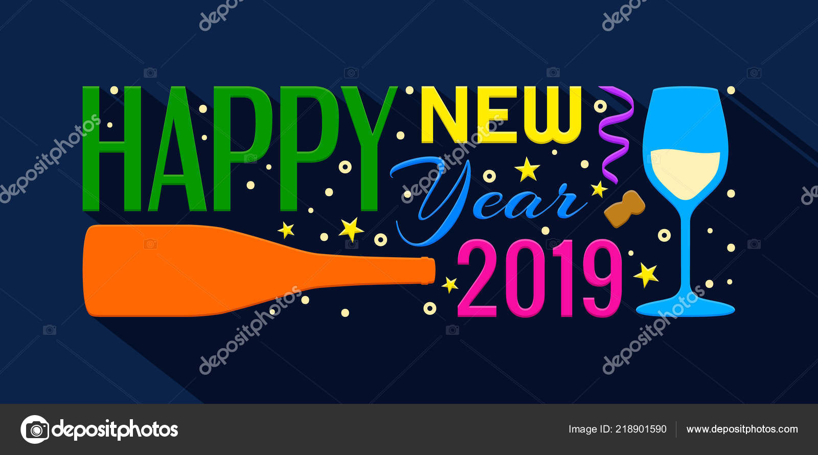 2019 happy new year banner lettering from bottle of champagne glass stars and