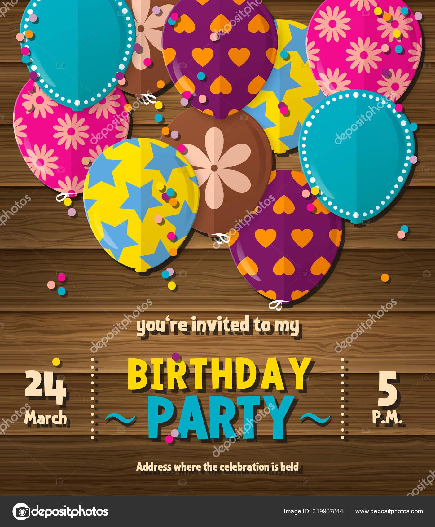 Tarjeta De Invitación Cumpleaños Fiesta Con Globos Planos