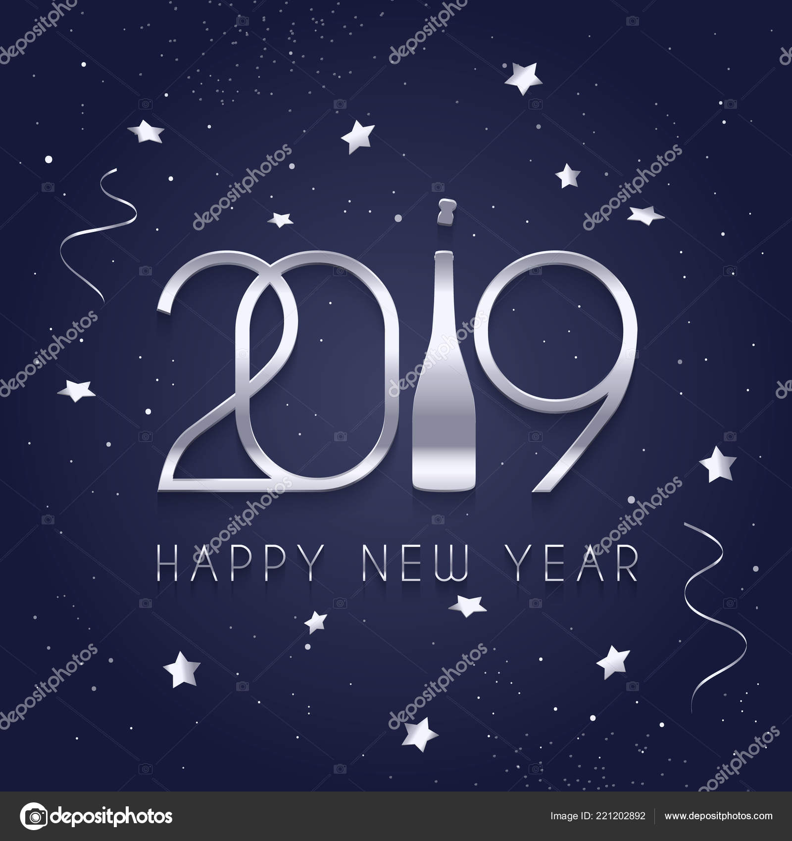 2019 happy new year silver numbers and bottle of champagne stars and streamers on blue background vector by nikolamirejovska