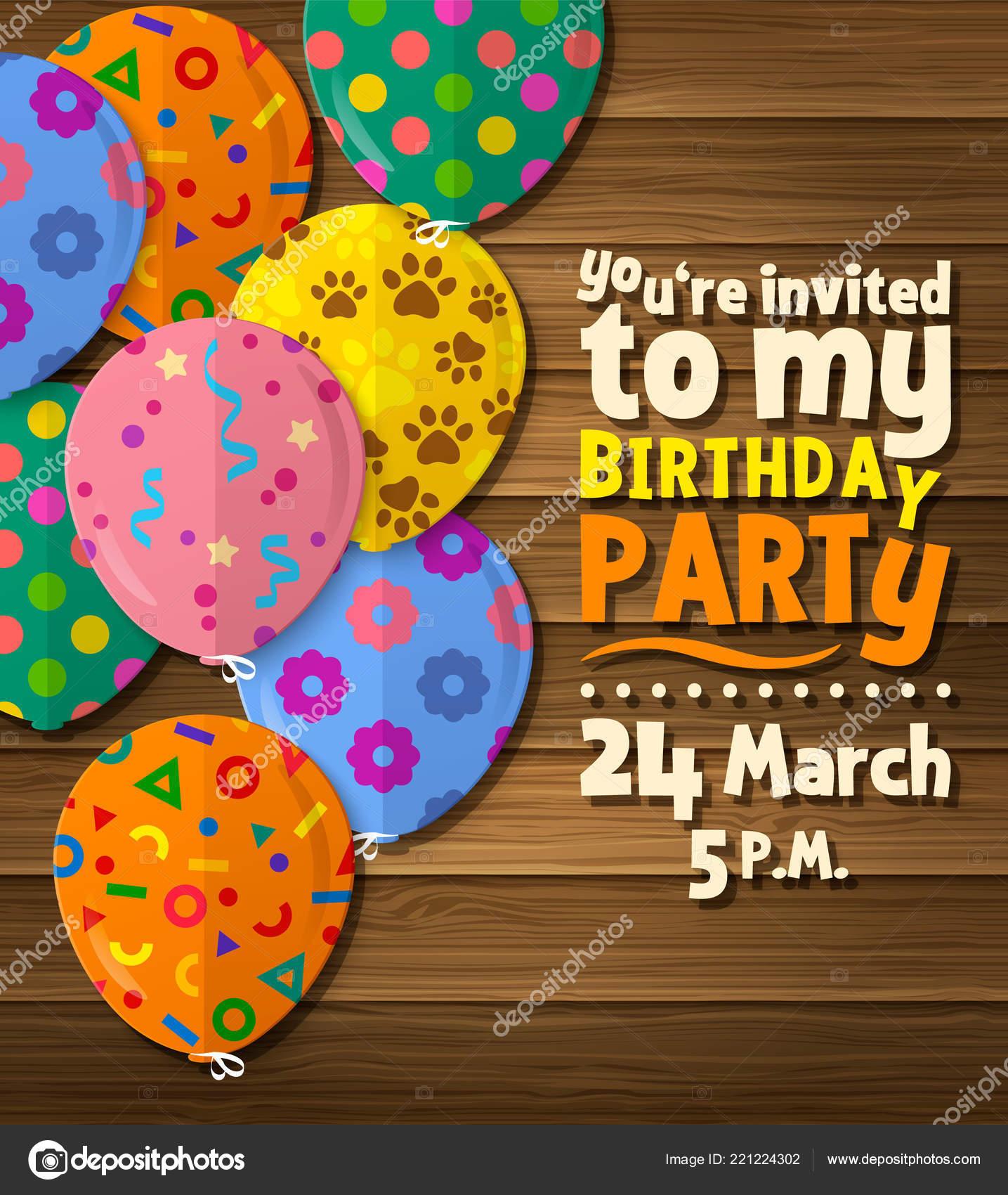 Tarjeta Invitación Fiesta Cumpleaños Con Globos Planos