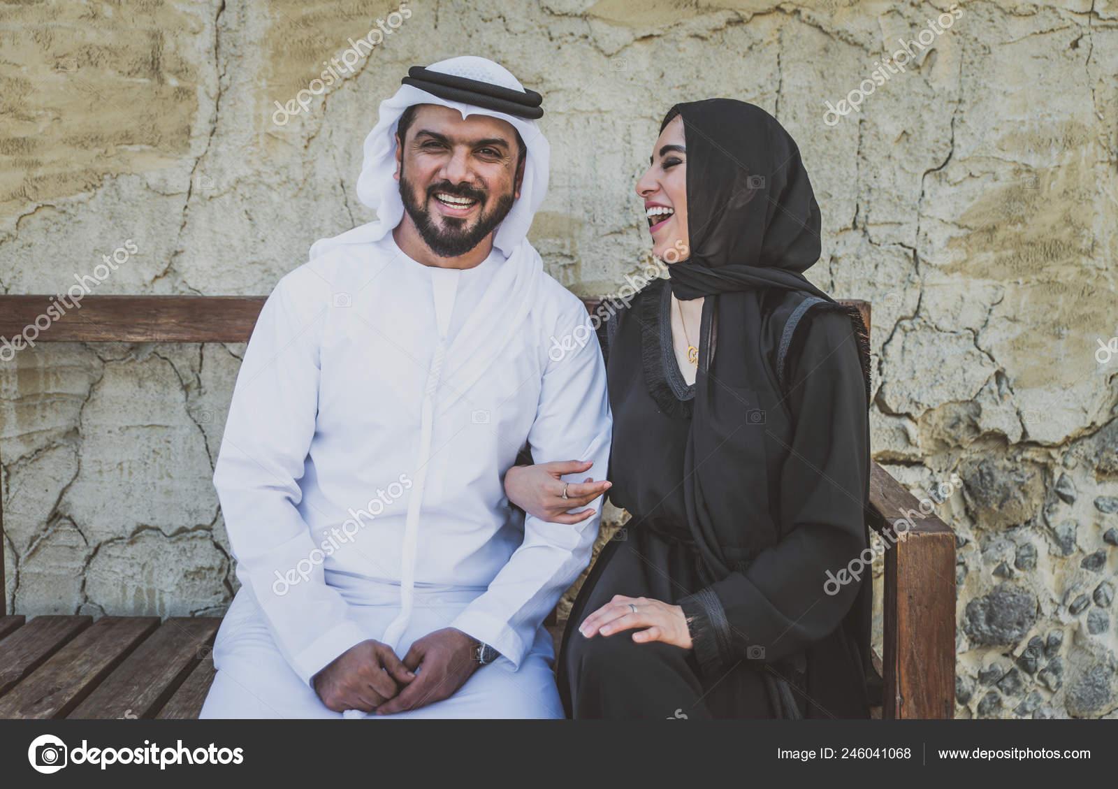 Happy Couple Spending Time Dubai Man Woman Wearing