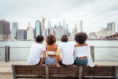 Group of afroamerican friends bonding in Manhattan, New York - Young adults having fun outdoors, concepts about lifestyle and young adult generation stock vector