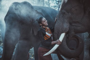 Beautiful thai woman spending time with the elephant in the jung