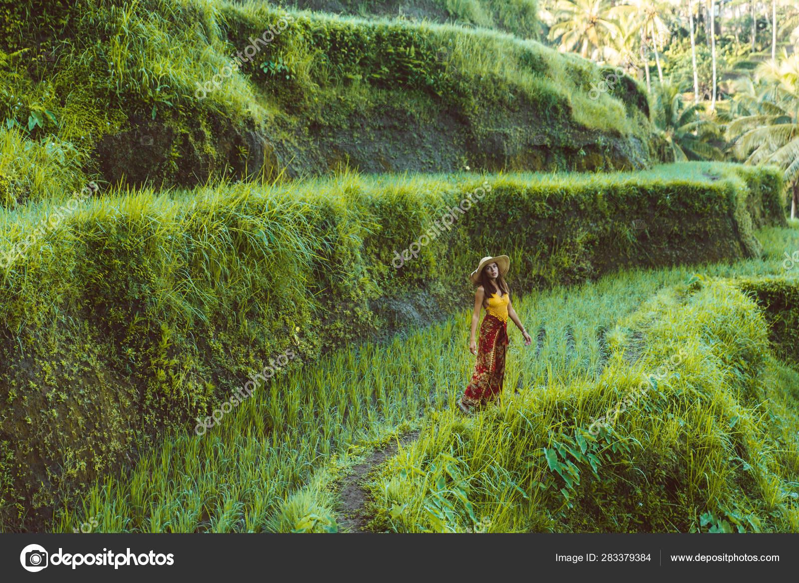 Mujer En La Terraza De Arroz Tegalalang En Bali Fotos De