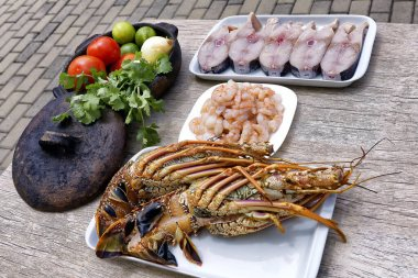 Fresh fish, shrimps,lobster and vegetables for the preparation of moqueca