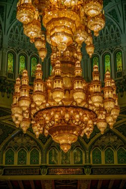 Chandelier detail of the Muscat Grand Mosque