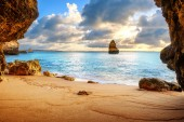 beautiful Atlantic ocean view horizon with sandy beach,  rocks a